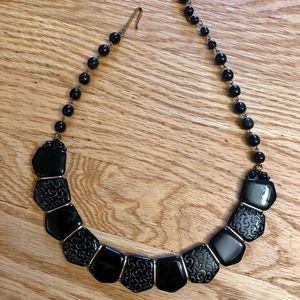 Vintage Black Beaded Choker Necklace